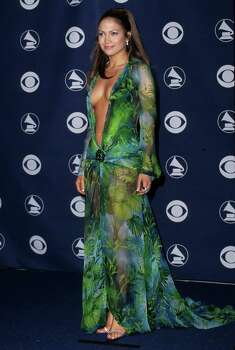 Jennifer Lopez caused a stir in her revealing green print Versace dress at the 42nd Grammy Awards in Los Angeles, Feb. 23, 2000. Photo: Steve Granitz / WireImage / WireImage