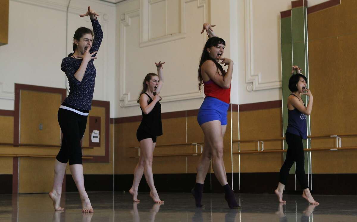 (From left) Alyssa Mitchel, Genevieve Hand, Courtney Armani and Linda Phung perform a piece during a rehearsal for the modern dance company, SoulSkin Dance, at Alonzo King Lines Ballet Studio in San Francisco, Calif. Saturday, March 7, 2015.