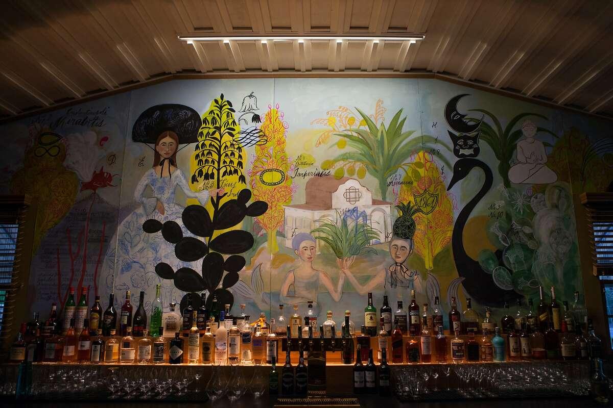 The beautiful mural at the bar inside Sam's Social Club at Indian Springs Resort.
