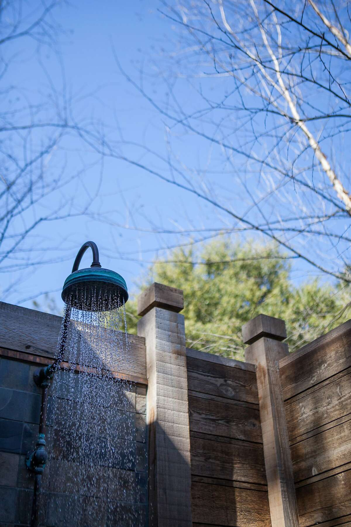One of the outdoor showers in the overnight rooms at the Calistoga Ranch.