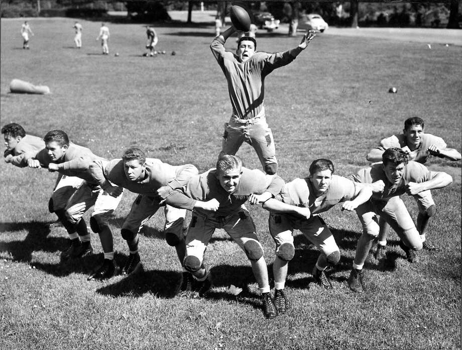 Sept. 16, 1948: Members of the Polytechnic High School football team, including future NFL star Bob St. Clair (second from right), pose for a photo in Golden Gate Park. Photo: Duke Downey, The Chronicle