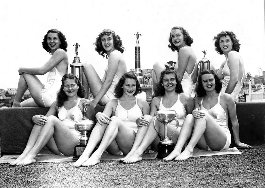 Aug. 21, 1947: Members of the Crystal Plunge national championship swim team, including future Olympic gold medal winner Ann Curtis (top row, second from right). Photo: Chronicle File