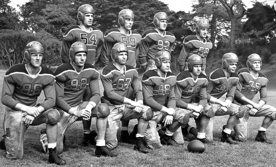 Sept. 11, 1947: The starting 11 players from Polytechnic High School line up in preparation for their upcoming big game at Kezar Stadium against Lowell. Photo: Bill Young, The Chronicle