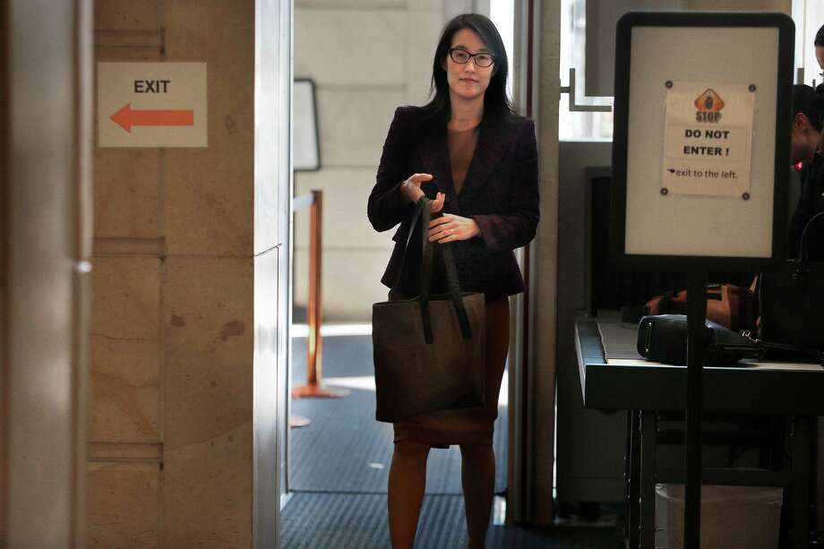 Ellen Pao comes back from lunch after testifying in her suit against Kleiner Perkins in San Francisco, California on Monday, March 9, 2015. Photo: Liz Hafalia / The Chronicle / ONLINE_YES