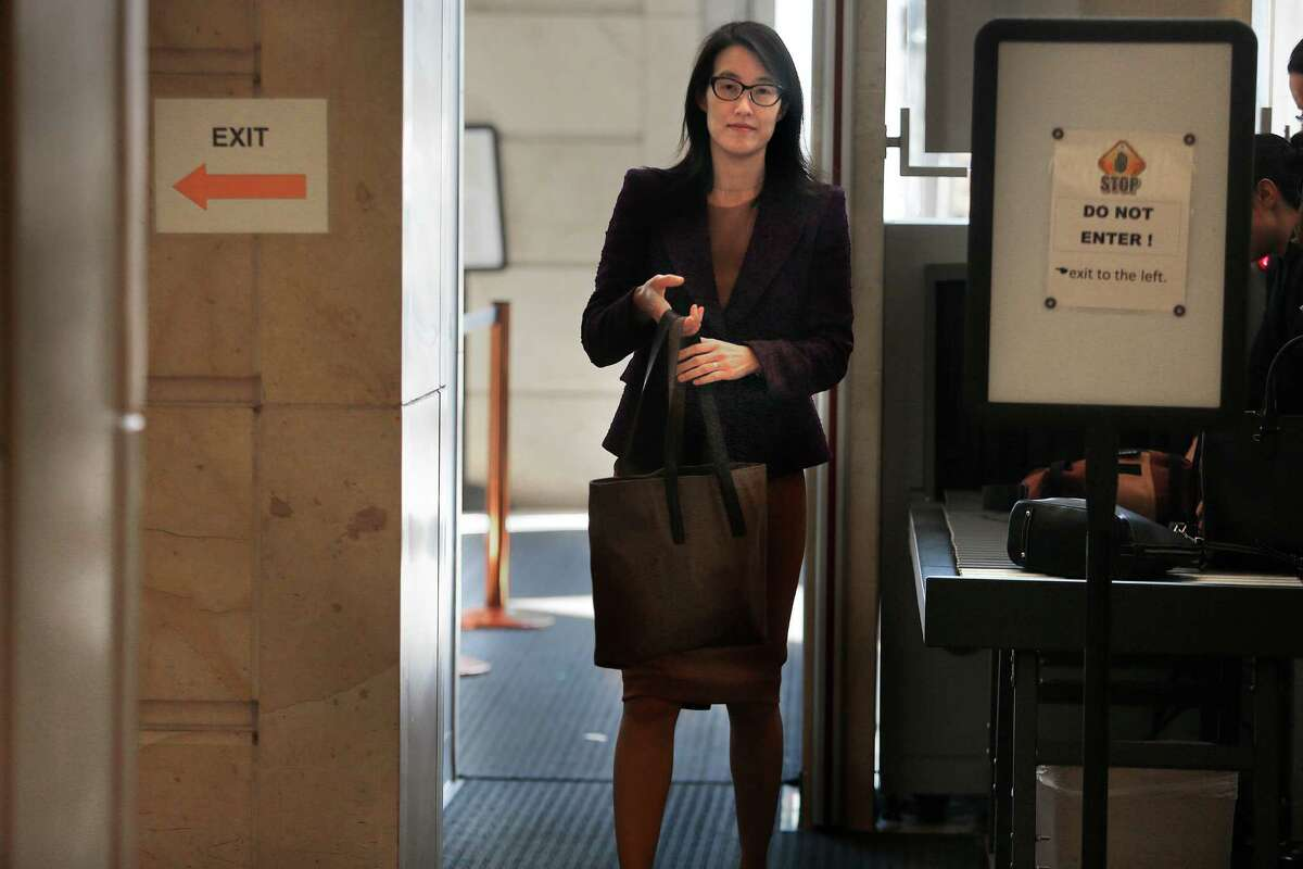 Ellen Pao comes back from lunch after testifying in her suit against Kleiner Perkins in San Francisco, California on Monday, March 9, 2015.