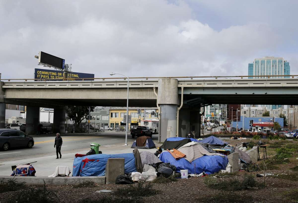 The small plaza area near the 5th Street onramp to the Bay Bridge is a favorite with a hardy group of homeless. Homeless encampments are still prevalent in San Francisco, Calif. and their locations are becoming more apparent.