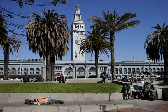 A view looking east from Justin Herman Plaza Tuesday March 3, 2015. Homeless encampments are still prevalent in San Francisco, Calif. and their locations are becoming more apparent.