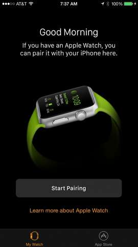 When you first launch the Apple Watch app, the initial screen lets you pair the watch with your iPhone . . . if you have an Apple Watch, that is.