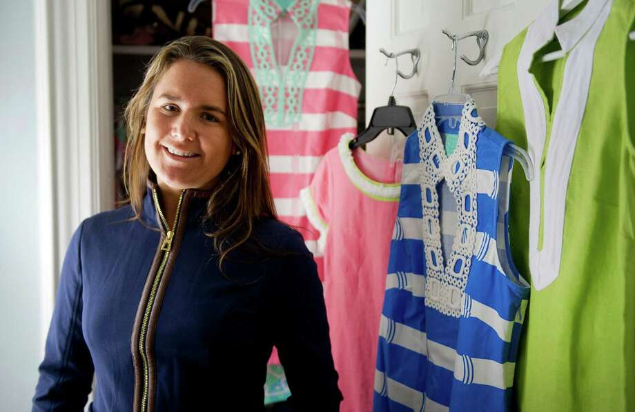 Jennifer Stocker, owner of Sail to Sable, shows off pieces from the fashion line at her home in Darien, Conn., on Wednesday, March 4, 2015. Photo: Lindsay Perry / Stamford Advocate