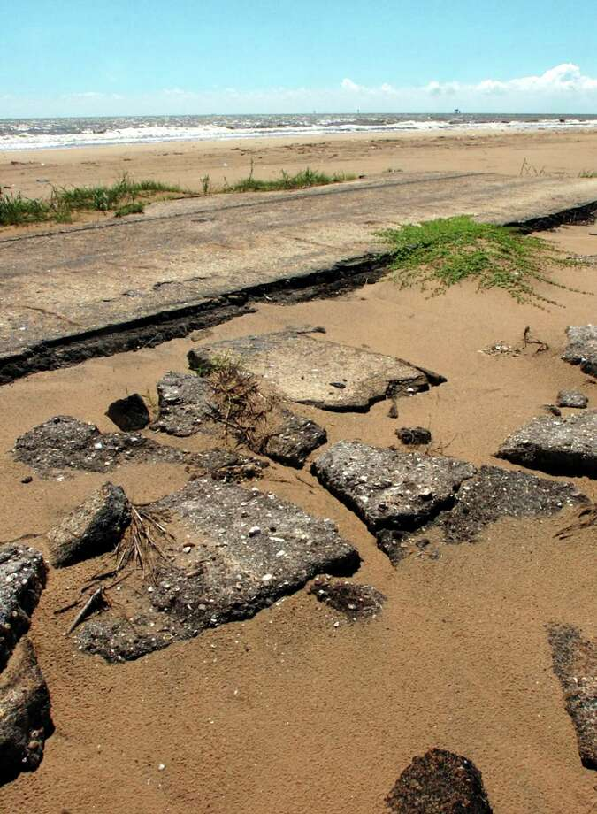 Some remains of former beach road Texas 87 are still visible along parts of McFaddin Beach. Texas Land Commissioner Jerry Patterson Monday announced $135.4 million in projects to fight beach erosion from McFaddin Beach to South Padre. Pete Churton/The Enterprise / Beaumont