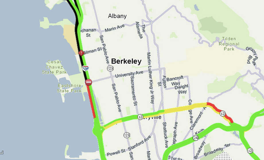 A disabled tractor trailer spilled its cargo on I-80 Westbound west of University Ave in Berkeley.  CHP estimates the right lane will remain closed until 10 AM. Photo: 511.org
