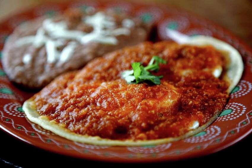 The brunch menu at Luna y Sol features Huevos Rancheros.