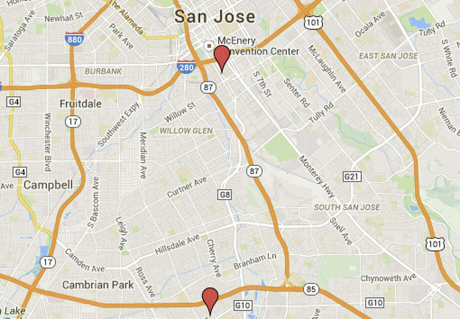 2 men were shot and injured in separate incidents in San Jose last night. Photo: Google Maps