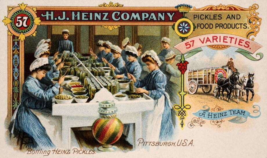 A vintage colour illustration featuring an assembly line of ladies bottling Heinz pickles, advertising H J Heinz Company 57 Varieties, circa 1900. Photo: Popperfoto, Getty Images / Popperfoto