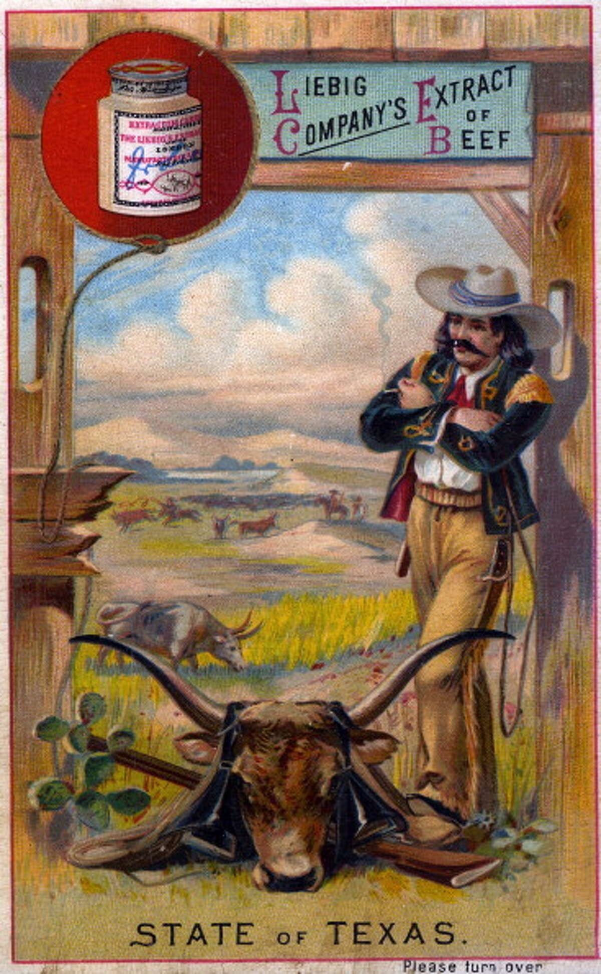 This advertising trade card is produced circa 1890 in Paris, France.