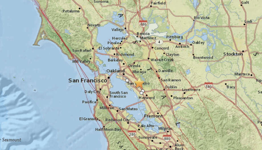 A magnitude 3.1 earthquake stuck near San Leandro this morning. Photo: USGS