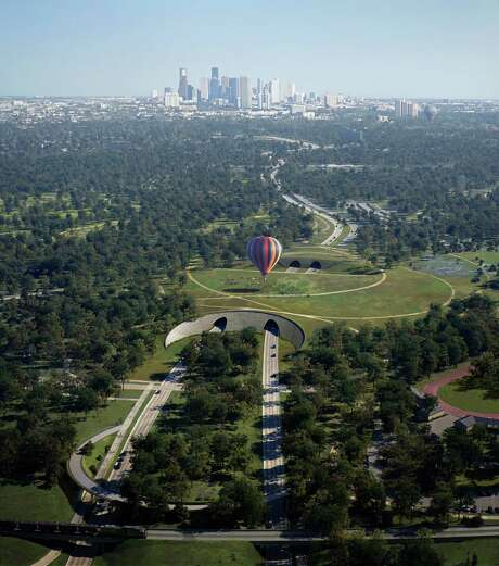 A rendering of Nelson Byrd Woltz's plans for Memorial park shows the enormous land bridge he proposes to build over Memorial Drive. Photo: Nelson Byrd Woltz