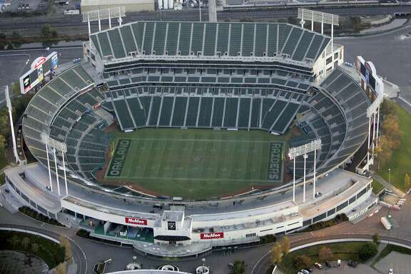An aerial view of the McAfee Coliseum, home of the Raiders and Athletics on 12/6/05 in Oakland, Calif.