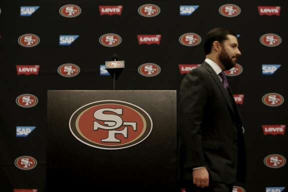 San Francisco 49ers' CEO/owner Jed York leaves the stage after comments on the retirement of linebacker Patrick Willis, during a press conference at Levi's Stadium in Santa Clara, Ca. on Tues. March 10, 2015.