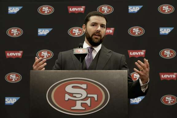 San Francisco 49ers' CEO and owner Jed York comments on the retirement of linebacker Patrick Willis, during a press conference at Levi's Stadium in Santa Clara, Ca. on Tues. March 10, 2015.