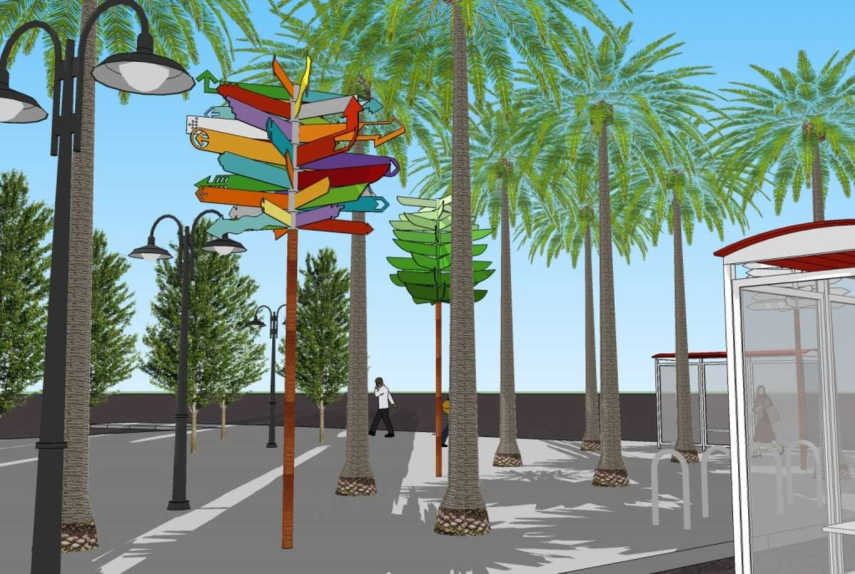 Rendering of the Masonic/Geary transportation hub after it is redone and decorated with Scott Oliver's signposts. Courtesy Scott Oliver.