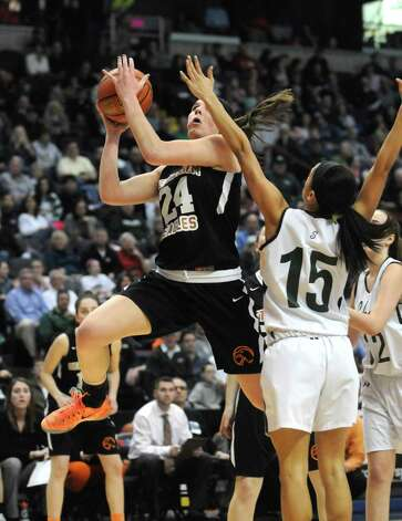 Bethlehem's Gabby Giacone goes in for a score during their 55-46 win over Shenendehowa in the Section II Class AA Girls' Basketball Final at the Times Union Center in Albany, N.Y.  (Michael P. Farrell/Times Union) Photo: Michael P. Farrell / 00030948A