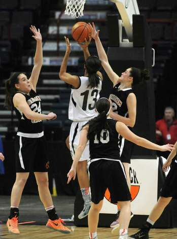 Bethlehem's Gabby Giacone, left, and Jenna Giacone defend a shot from Shen's Sydney Brown during Bethlehem's 55-46 win over Shenendehowa in the Section II Class AA Girls' Basketball Final at the Times Union Center on Tuesday March 10, 2015 in Albany, N.Y. (Michael P. Farrell/Times Union) Photo: Michael P. Farrell / 00030948A