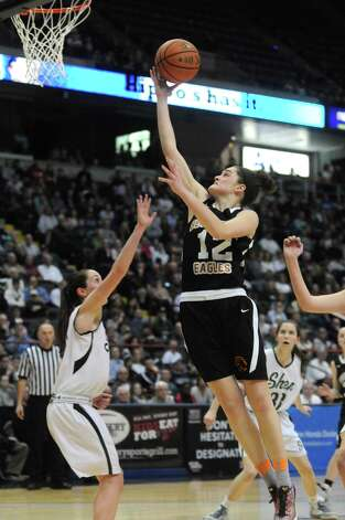 Bethlehem's  Jenna Giacone goes in for a score during Bethlehem's 55-46 win over Shenendehowa in the Section II Class AA Girls' Basketball Final at the Times Union Center on Tuesday March 10, 2015 in Albany, N.Y. (Michael P. Farrell/Times Union) Photo: Michael P. Farrell / 00030948A