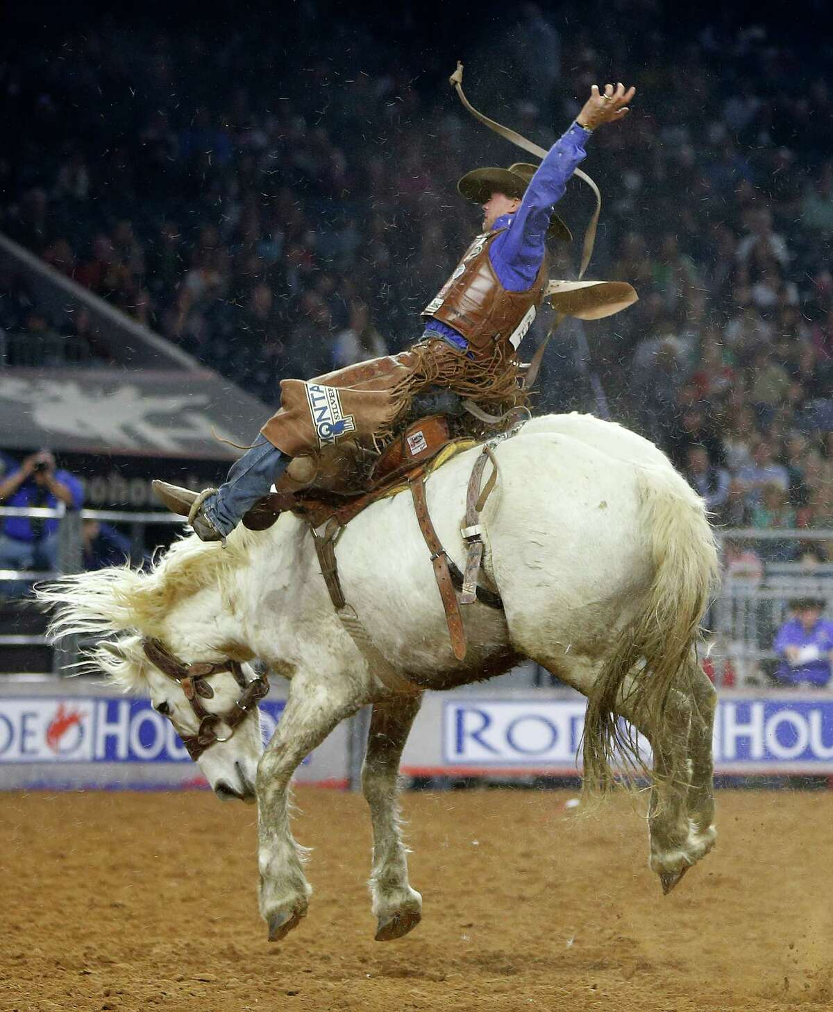 Cody DeMoss rode Snow White in the saddle bronc riding competition Tuesday.