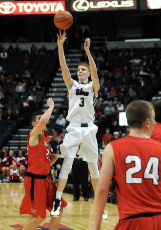 Shenendehowa's Kevin Huerter shoots a three point shot during their win over Guilderland 47-42 in the Section II Class AA Boy's Basketball Final at the Times Union Center on Tuesday March 10, 2015 in Albany, N.Y.  (Michael P. Farrell/Times Union) Photo: Michael P. Farrell / 00030949A