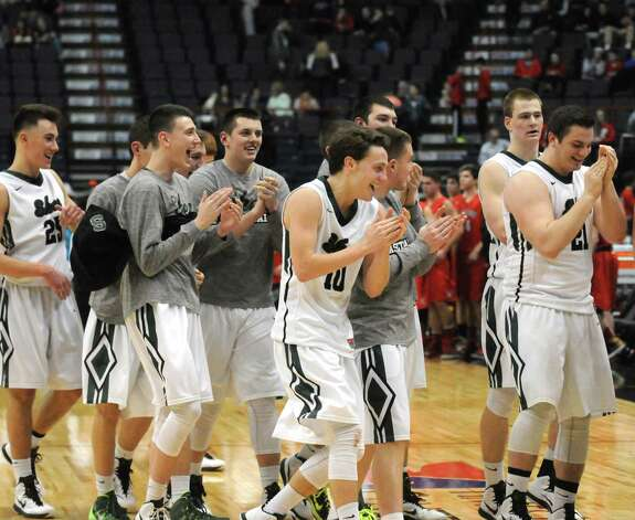Shenendehowa celebrates following their win over Guilderland 47-42 in the Section II Class AA Boy's Basketball Final at the Times Union Center on Tuesday March 10, 2015 in Albany, N.Y.  (Michael P. Farrell/Times Union) Photo: Michael P. Farrell / 00030949A