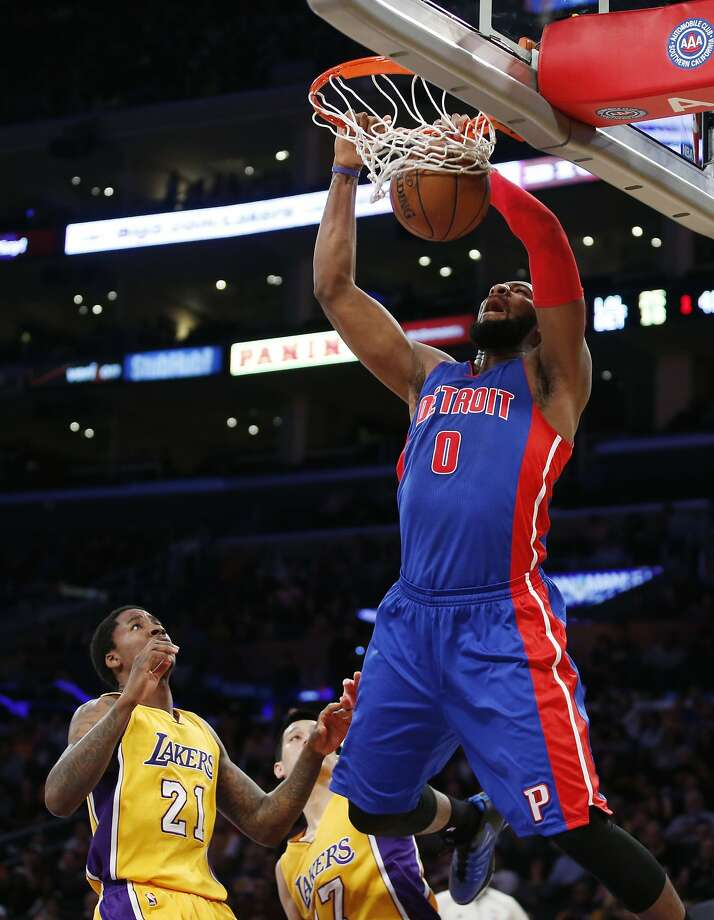 Detroit Pistons' Andre Drummond dunks in front of Los Angeles Lakers' Ed Davis, left, during the first half of an NBA basketball game, Tuesday, March 10, 2015, in Los Angeles. (AP Photo/Danny Moloshok) Photo: Danny Moloshok, Associated Press