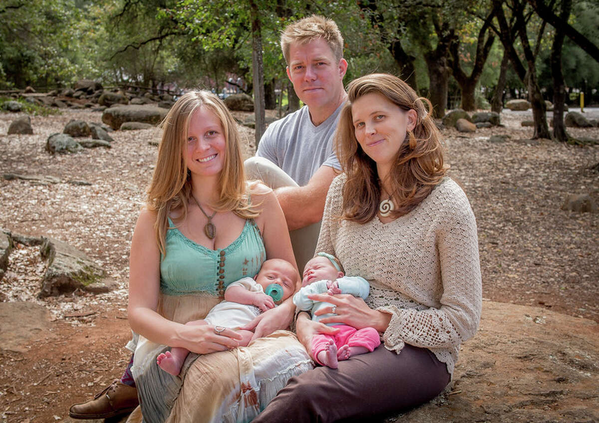 One dad, two moms and two babies: John Stein and Melinda and Dani Phoenix with their babies Oliver and Ella Stein in Howarth Park in Santa Rosa, Calif.
