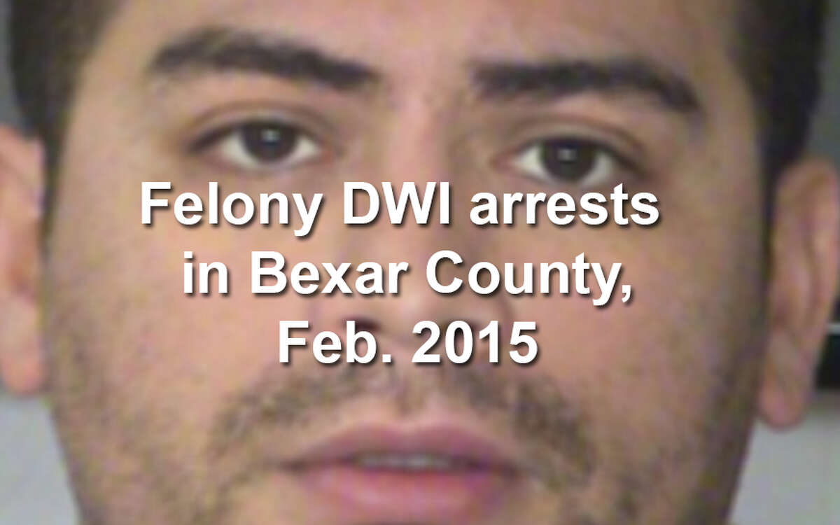 Law enforcement agencies in Bexar County arrested 59 men and women on felony drunken driving charges in February 2015, according to the Bexar County District Attorney's Office. Scroll through the gallery to see booking photos for each of the 59 defendants arrested in February. A mugshot is not proof of guilt.