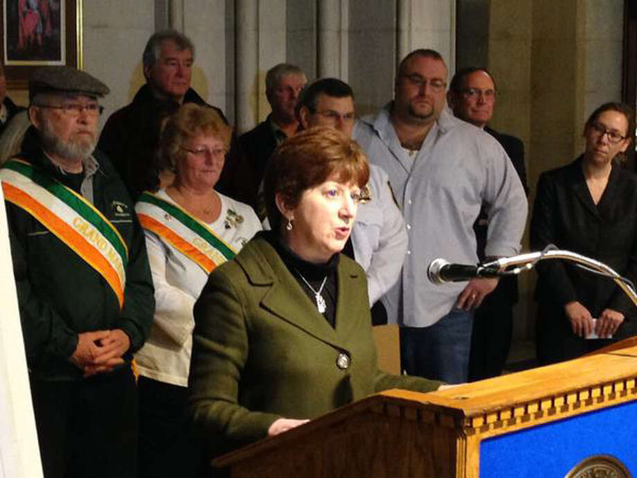 Albany Mayor Kathy Sheehan announces a no drinking rule for Saturday's St. Patrick's Day parades during a press conference Wednesday morning in Albany. Mayor Sheehan says the city will not allow open containers of alcoholic beverages at the parades. (Skip Dickstein/Times Union)
