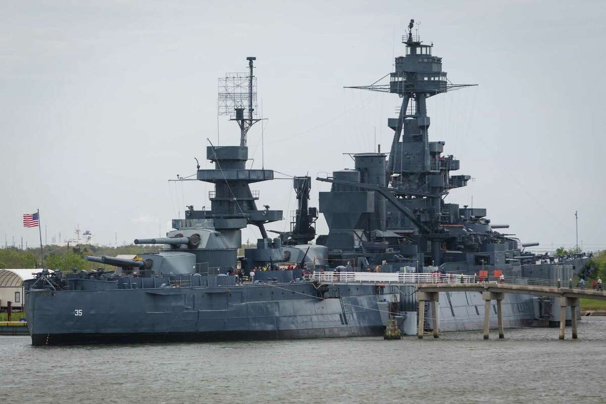 The Battleship Texas sits on the Houston Ship Channel directly across from a Kirby Inland Marine fleet, Wednesday, March 26, 2014. ( Michael Paulsen / Houston Chronicle )