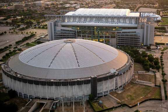 Aerial view of the Astrodome and NRG Stadium on Wednesday, Aug. 20, 2014, in Houston.
