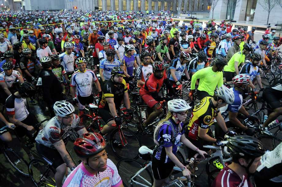 The first wave of cyclists prepare to start at the annual Tour de Houston bike ride downtown Sunday  March 16, 2014.(Dave Rossman photo) Photo: Dave Rossman, Freelance / Freelance