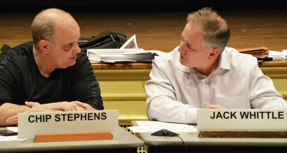 Planning and Zoning Commission Chairman Chip Stephens, left, and Vice Chairman Jack Whittle exchange views during a meeting. Photo: Jarret Liotta, File Photo / Westport News