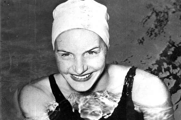 April 5, 1948: San Francisco swimmer Ann Curtis at the Crystal Plunge. Curtis won several medals at the 1948 Olympic Games.