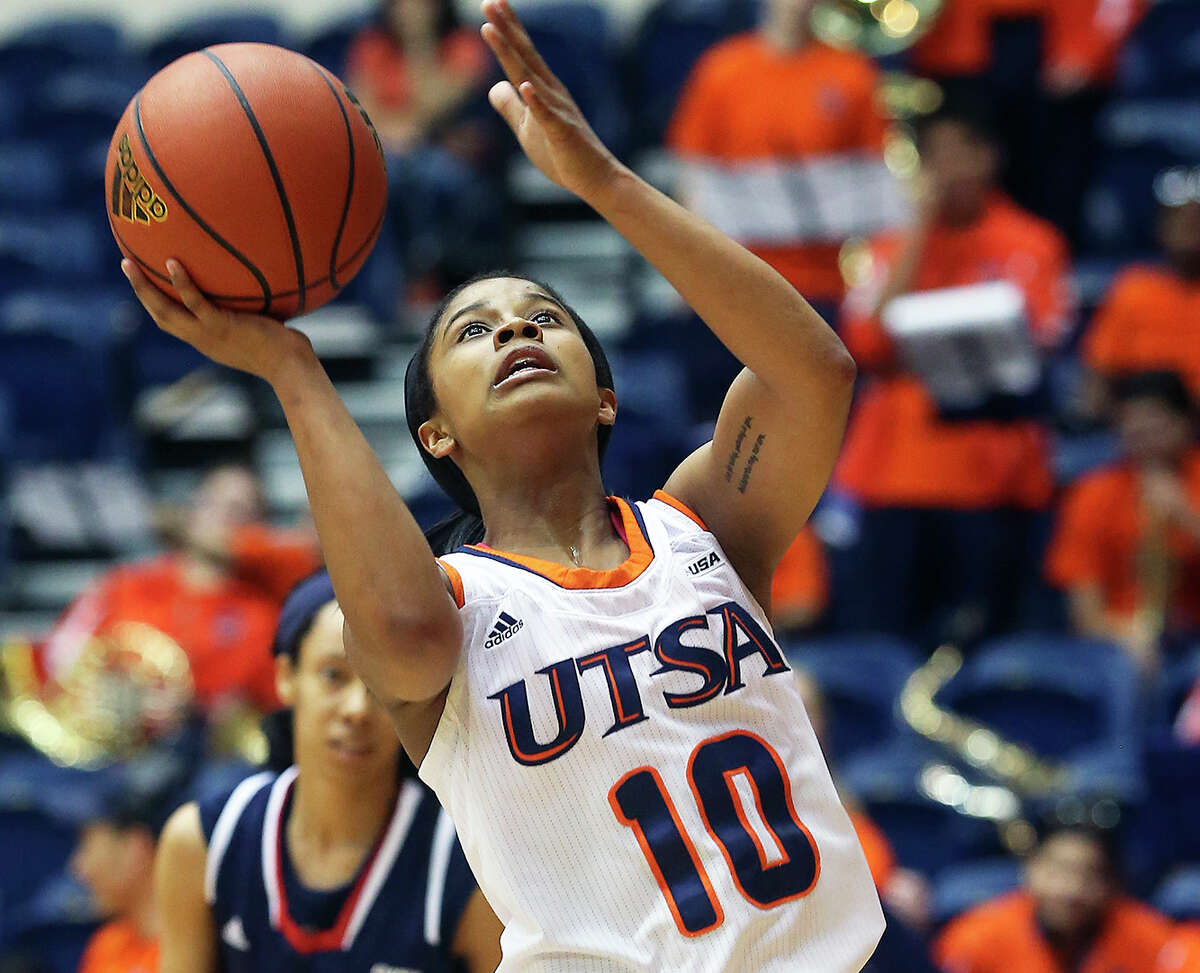 Runner guard Kamra King breaks to the hoop as UTSA hosts Florida Atlantic in women's basketball at the UTSA Convocation Center on March 1, 2014.