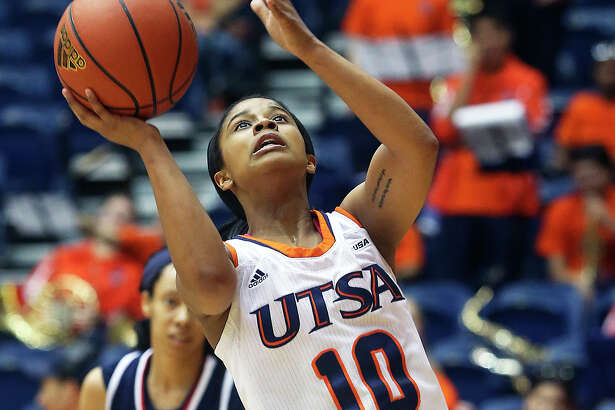 Runner guard Kamra King breaks to the hoop as UTSA hosts Florida Atlantic in women's basketball at the UTSA Convocation Center on March 1, 2014.