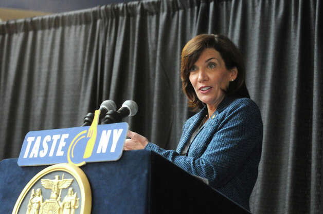 Lieutenant Governor Kathy Hochul, right, speaks during an announcement of a Farm to Fan initiative designed to support local agriculture and enhance the ìTaste NYî experience for visitors at the Times Union Center on Wednesday March 4, 2015 in Albany, N.Y.  (Michael P. Farrell/Times Union) Photo: Michael P. Farrell, Albany Times Union / 10030871A