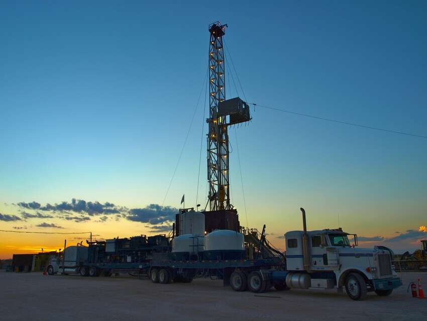 A Baker Hughes walking rig, so called because it's equipped to move among well sites, works in the Permian Basin of West Texas.