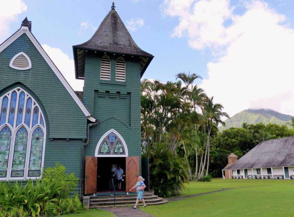 Hanalei's Wai'oli Hui'ia Church sits beside the Mission Hall, circa 1841, the oldest surviving church building on the island of Kauai.