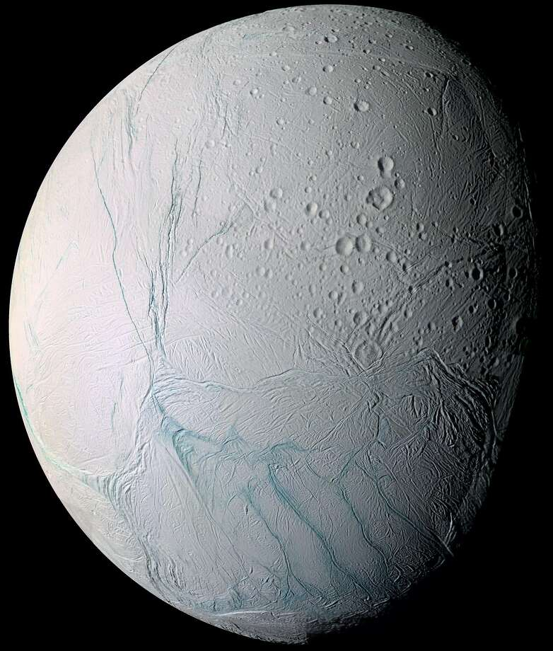 Enceladus is one of Saturn's 62 moons. Photo: Associated Press