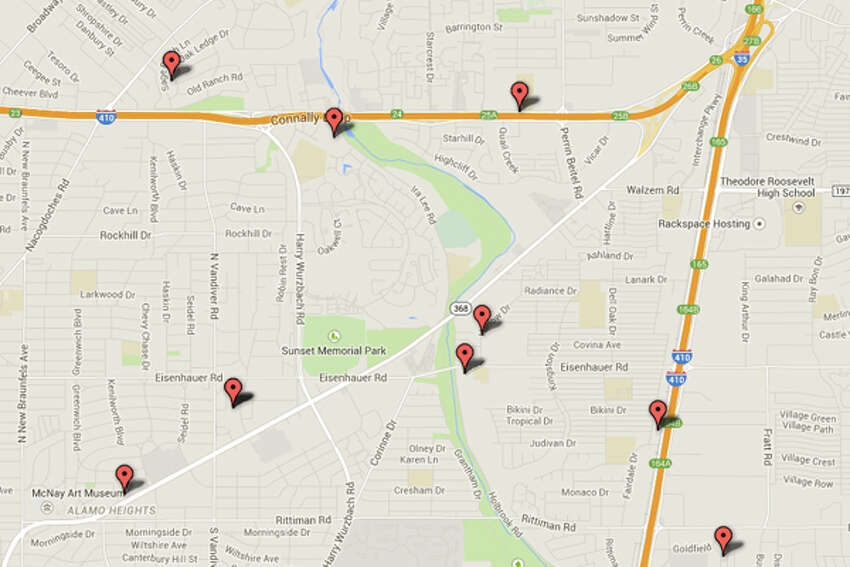 Northeast Side DEA: Addresses of some locations where law enforcement agencies reported they found chemicals or other items that indicated the presence of either clandestine drug laboratories or dumpsites in the San Antonio area.