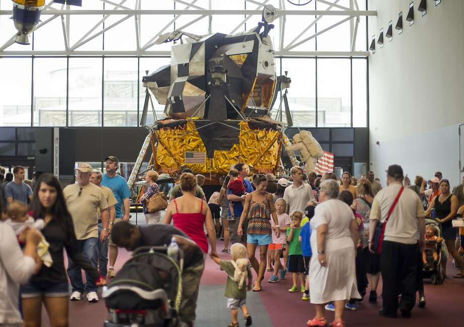 The Apollo Lunar Module, one of 12 built for Project Apollo, is seen on display at the Smithsonian's National Air and Space Museum in Washington. Photo: Pablo Martinez Monsivais, Associated Press