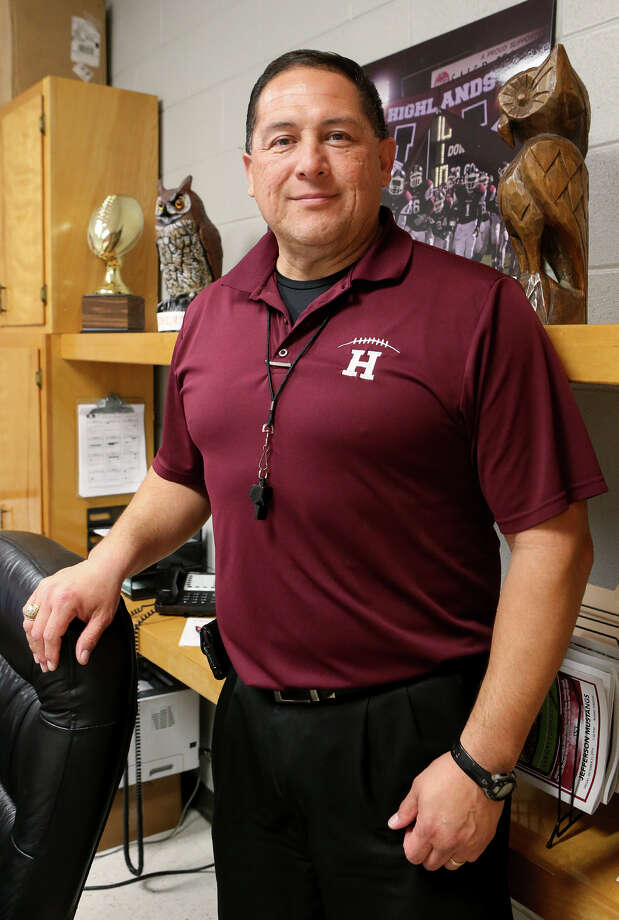 Highlands' new football coach and athletic coordinator, Juan Morales, in his office at the school on March 4, 2015. Morales coached at John Jay for 13 years and was an assistant at Brennan for the last two seasons. Photo: Marvin Pfeiffer /San Antonio Express-News / Express-News 2015