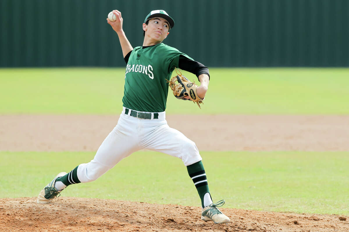 Southwest's Joseph Cerda throws to the plate during the fourth inning against Medina Valley in the 2015 Dragon Invitational.